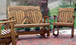 High Back Heart Wood Glider and Rocker