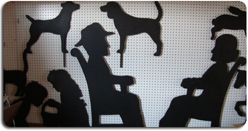 silhouettes, girl and boy with basket, dogs, grandma and grandpa